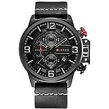 ストップウォッチ アナログ 腕時計 日付 メンズ 時計 クロノグラフ 革 curren 8278