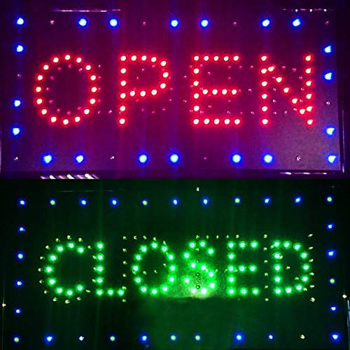 Enshey 2 in1 Open & Closed Store Sign, Business Sign, Windows Sign Neon LED Business Store Shop Open Sign Chain Advertisement Board Electric Display Sign for Business, Walls, Window, Shop, Bar, Hotel (Closed Neon Sign)