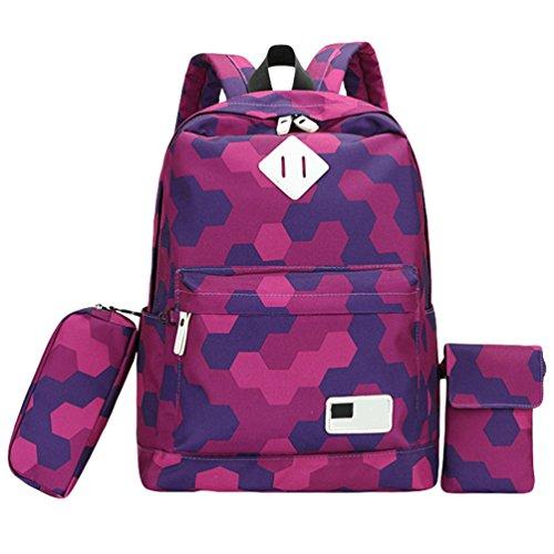 WanYang 3 Piezas Set Backpack Mochilas Escolares Mochila Escolar Casual Bolsa Viaje 3Pcs Púrpura