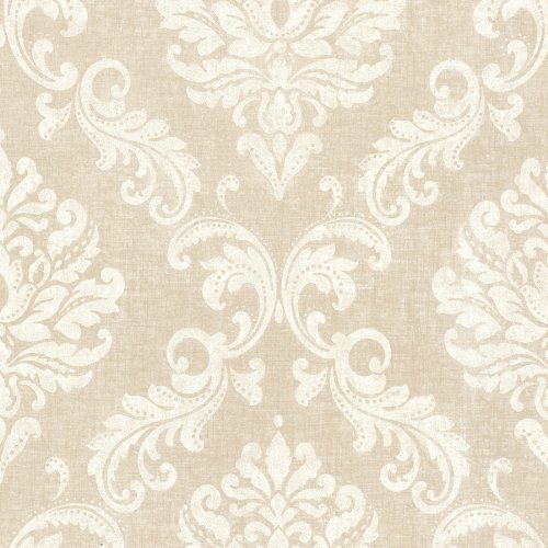 Beacon House 450-67360 Sebastion Beige Damask Wallpaper, (Beacon House Wallpaper)