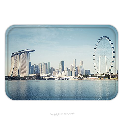 Flannel Microfiber Non-slip Rubber Backing Soft Absorbent Doormat Mat Rug Carpet Singapore Skyline Singapore S Business District 177712316 for - Singapore Sports Glasses