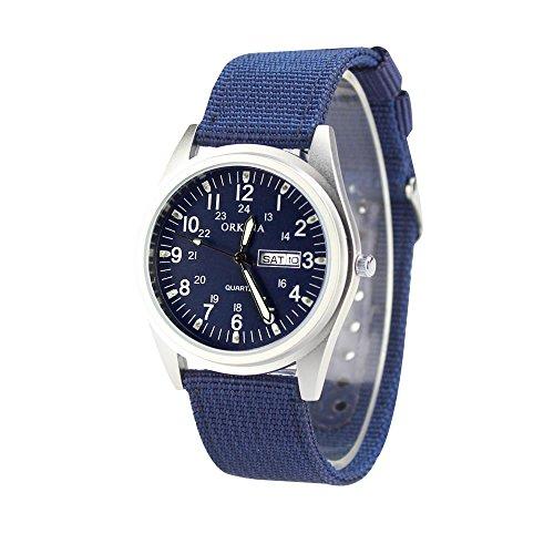 KTC Navy Blue Dial Matt Silver Case Quartz Date Display Nylon Fabric Strap Casual Fashion Wrist Watch