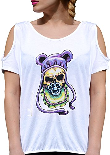 T SHIRT JODE GIRL GGG27 Z3186 EVIL CREEPY DEATH CHILD BABY PIJAMAS FUNNY FASHION COOL BIANCA - WHITE S
