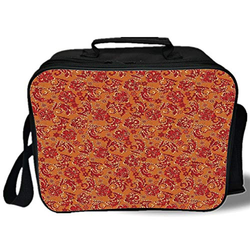 Batik Decor 3D Print Insulated Lunch Bag,Nostalgic Western European Medieval Renaissance Inspired Eastern Boho Pattern,for Work/School/Picnic,Red ()