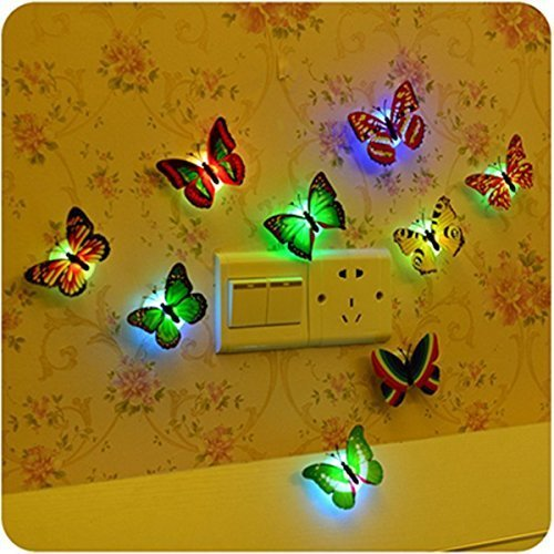 Creative Color Changing ABS Butterfly LED Night Lights Lamp Beautiful Home Decorative Wall Nightlights - Blaze Light Shade
