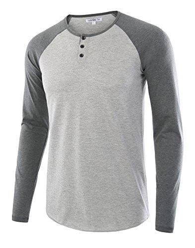 HARBETH Men's Casual Long Sleeve Henley Shirt Raglan Fit Baseball T-Shirts Tee H.Gray/S.Green L (Henley Baseball Tee)