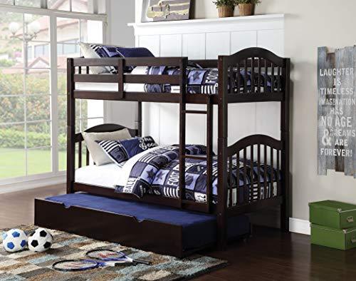 - HomeRoots Twin/Twin Bunk Bed, Espresso - Pine Wood, Birch Veneer, Espresso