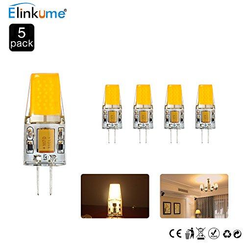 Elinkume 5X G4 3W LED Bulb,G4 COB LED Lighting,30 Watt G4 Halogen Light Bulb Replacement,300LM,2800-3000K Warm White,12V AC/DC