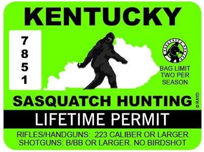 KENTUCKY Bumper Sticker Bigfoot Hunting Permit
