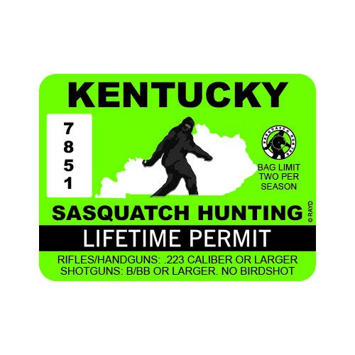 "RDW Kentucky Sasquatch Hunting Permit - Color Sticker - Decal - Die Cut - Size: 4.00"" x 3.00"""