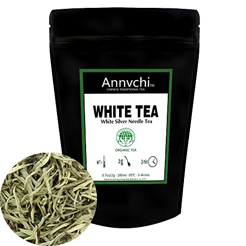 White Tea Organic Leaves(14 Cups),100% Certified Pure White Tea Loose Leaf,White Silver Needle Tea Rich in Powerful Antioxidants,Organically Grown in Fujian China,1oz(28g)