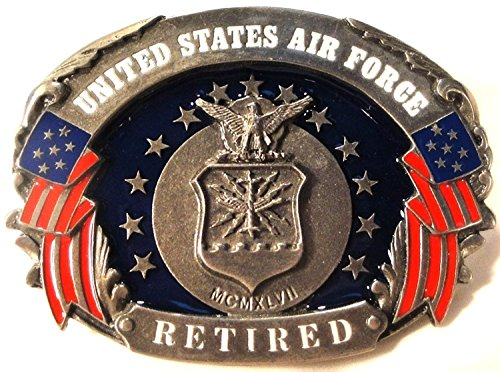 (US AIR FORCE RETIRED PEWTER BELT BUCKLE MADE IN USA BY SISKIYOU)