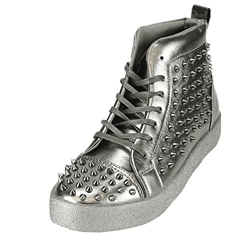 - Fiesso Mens PU Leather Stylish Rivet Studded High Top Ankle Flat Boots Black Spikes (11, Silver)