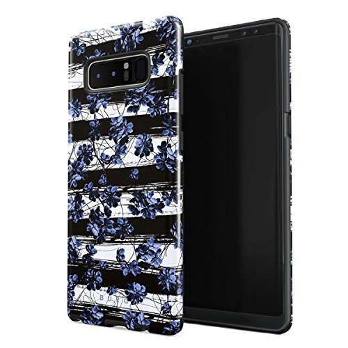 BURGA Phone Case Compatible with Samsung Galaxy Note 8 Case Wild Cherries Blue Blossom Floral Pattern Chevron Fashion Designer Heavy Duty Shockproof Dual Layer Hard Shell + Silicone Protective Cover