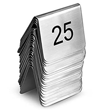 Stainless Steel Table Number Set 1-25 - Tent Style Table Number Stands for Restaurants  sc 1 st  Amazon UK & Stainless Steel Table Number Set 1-25 - Tent Style Table Number ...