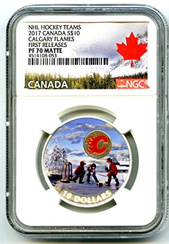2017 Canada Silver Proof NHL PASSION TO PLAY CALGARY FLAMES HOCKEY FIRST RELEASES MATTE $10 PF70 - To Aus Calgary