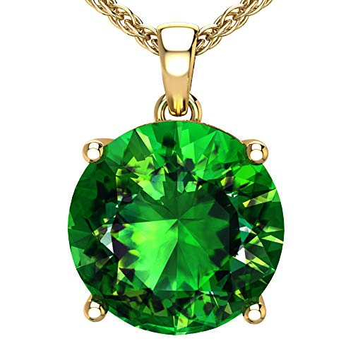 Belinda Jewelz 14k Rhodium Plated Yellow Gold Round Gemstone Sparkling Rope Chain Sterling Silver Birthstone Fine Jewelry Classic Womens Hang Pendant Necklace, 3.8 Carat Created Emerald, 18 Inch