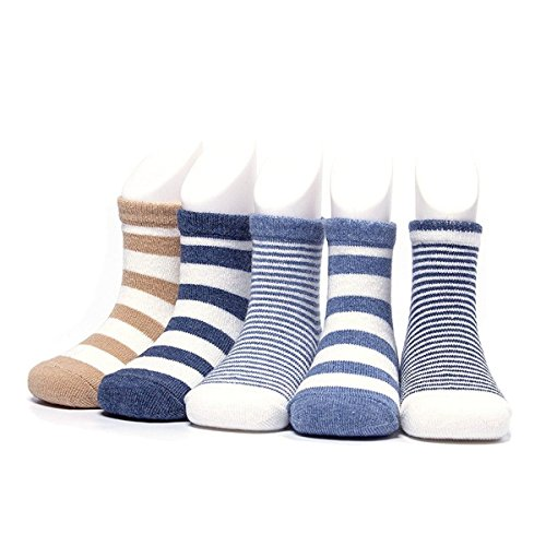 Century Star Infant Boy Kid Girl Cotton Stripe 5 Pairs Socks for Baby Comfort Wear 5 Pack-Stripe2 L(3-5 years old)