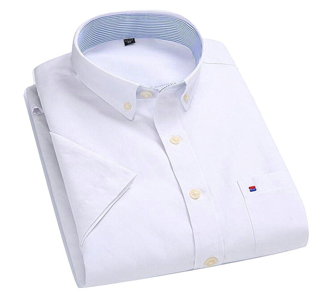 Hajotrawa Mens Button Down Casual Short Sleeve Business Classic-fit Dress Shirts