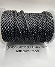 """EMPIRE ROPES Nylon Anchor line, Rigging line Twisted 3 Strand 3/8"""" x100' Ropes with 316 SS Metal Thim"""