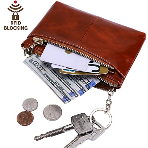 Itslife RFID BLOCKING Triple Zipper Leather Mini Coin Purse Card Holder with Key Chain (Maroon) ()