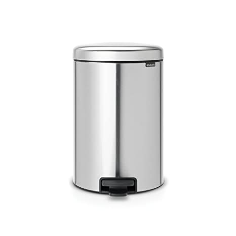 Brabantia Newicon-Cubo de Basura con Pedal, 20 l, Color Acero Mate Fpp Anti-Huellas, Inoxidable