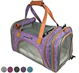 Mr. Peanut's Airline Approved Soft Sided Pet Carrier, Low Profile Luxury Travel Tote with Fleece Bedding & Safety Lock, Under Seat Compatability, Perfect for Cats and Small Dogs (Purple)