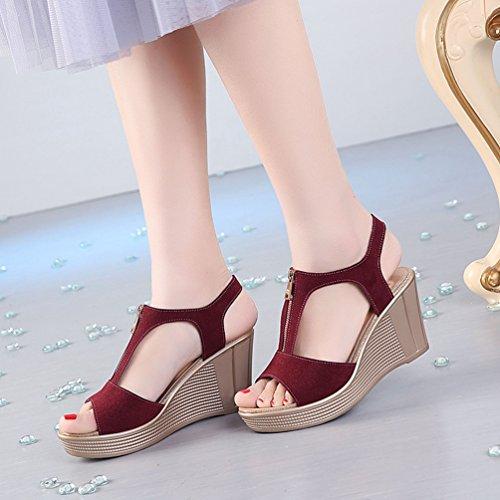 Scarpe Peep Elegante Toe Alto Anguang Donna Vino Rosso Cerniera Tacco Con Sandali AEwU4xY