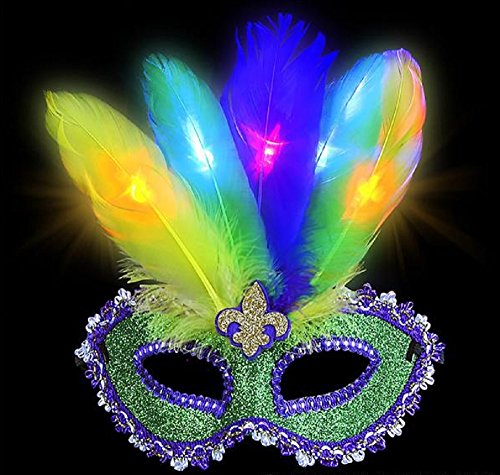 LIGHT UP MARDI GRAS GLITTER FEATHER MASK, Your face will light up like a marquee billboard in the French Quarter down south in New (Halloween Stores In New Orleans)