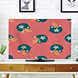iPrint LCD TV dust Cover Strong Durability,Football,Helmet Figures with Stars Retro Display Game Safety Headgear,Dark Coral Yellow Petrol Blue,Picture Print Design Compatible 50'/52' TV