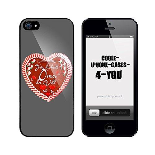 Iphone 5 / 5S Schutzhülle Beste Oma Lebkuchenherz - schwarzer Rahmen