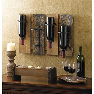 distressed rustic wood garden fence wall mount hanging wine bottle holder rack
