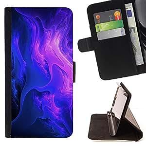 BullDog Case - FOR/Samsung Galaxy S4 IV I9500 / - / Purple Clouds /- Monedero de cuero de la PU Llevar cubierta de la caja con el ID Credit Card Slots Flip funda de cuer