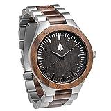 Treehut Men's Walnut Wooden Silver Stainless Steel Watch Quartz Analog with Q...