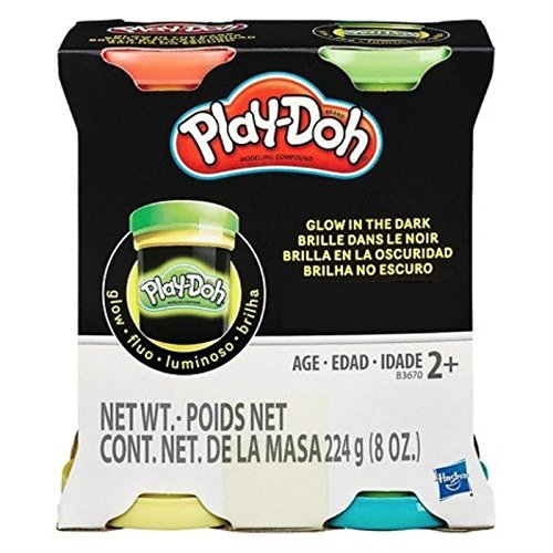 Play-Doh Glow in the Dark Modeling Compound, Red, Green, Yellow and Blue 4 Pack (8 Oz 4 (Total)