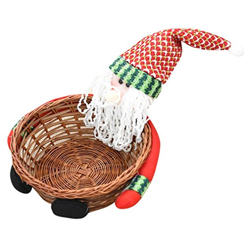 QISC Christmas Santa Claus Basket Decoration Candy Storage BasketClassic Dried Fruit Tray Gift (Multicolor A)
