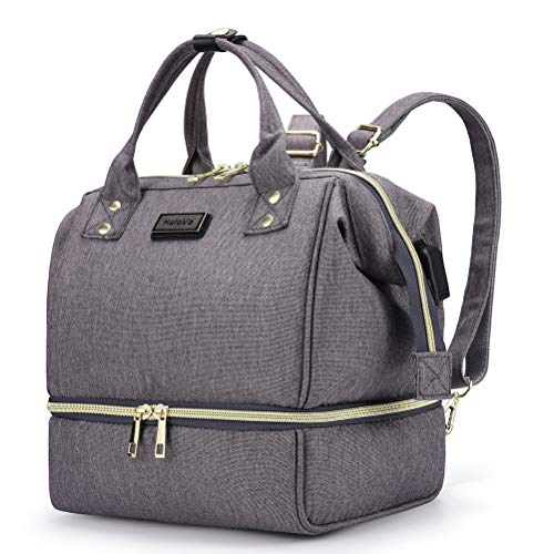 HaloVa Diaper Bag, Mini Baby Nappy Bag, Mommy Maternity Shoulders Backpack, Tote Bag with Thermal Insulated Bottle Pocket and USB Charging Port, Dark Grey