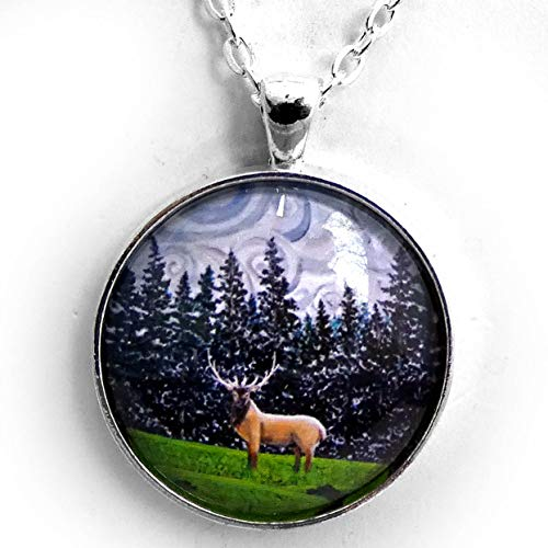 Laura Milnor Iverson Elk Under Swirling Gray Clouds Pendant Pacific Northwest Trees Deer Necklace Handmade Jewelry