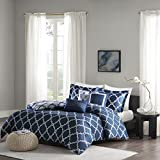 Madison Park Merritt Duvet Cover King/Cal King Size - Navy, Geometric Duvet Cover Set – 6 Piece – Ultra Soft Microfiber Light Weight Bed Comforter Covers