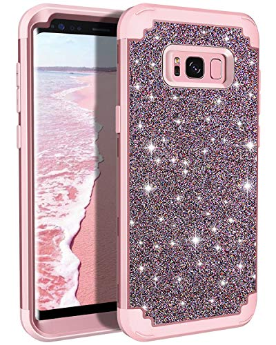 Casetego Compatible Galaxy S8 Plus Case,Glitter Sparkle Bling Three Layer Heavy Duty Hybrid Sturdy Armor Shockproof Protective Cover Case for Samsung Galaxy S8 Plus-Shiny Rose Gold