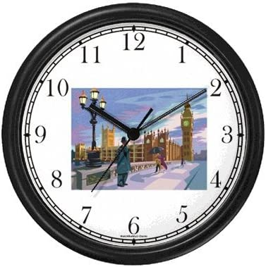Big Ben with Surrounding Buildings – Bobby in Foreground England – Famous Landmarks – Theme Wall Clock by WatchBuddy Timepieces Black Frame