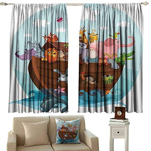 backdrop curtain Noahs Ark Decor Collection,Two of Every Living in Noahs Ark Ancient Architecture Humorously Designed Art Image,Blue Pink 84