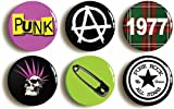 "6 x ""PUNK ROCK"" COSTUME PARTY RETRO BADGES PINS BUTTONS (1inch/25mm diameter)"