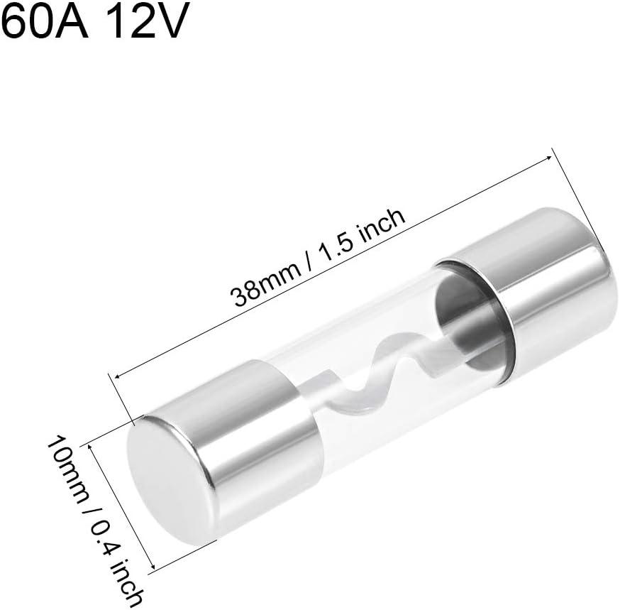 sourcing map Automobile Fusibles Cartouche 60A DC 12V 10x38mm Soufflage Voiture Rapide Amplifier Verre 5Pcs