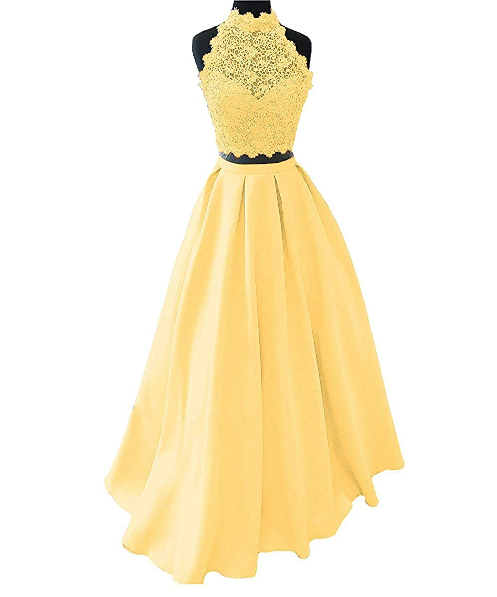 Yellow Ellenhouse Women's Long High Neck Two Pieces Prom Party Evening Dresses
