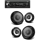 Kenwood KDC-BT21 In-Dash 1-DIN CD/MP3 Car Stereo Receiver with Bluetooth+Kenwood KFC-1665S 300-Watt 6.5-Inch 2-Way Sport Series Flush Mount Coaxial Speakers with Paper Tweeters (2Pairs