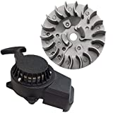 WPHMOTO Alloy Pull Start Recoil Starter with Flywheel for 47cc 49cc Pocket Dirt Bike Mini ATV (Black)