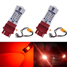 KaTur 3155 3157 3157A 3457A Red LED Bulbs 2835 42SMD 12V Lens LED Turn Signal Light with Canbus Decoder Error Free 50W 8ohm Load Resistors Harness Set (Pack of 2)