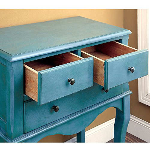 1PerfectChoice Sian Vintage Style Storage Hallway Cabinet Console Table Stand Cabriole Leg Wood Color Antique Teal