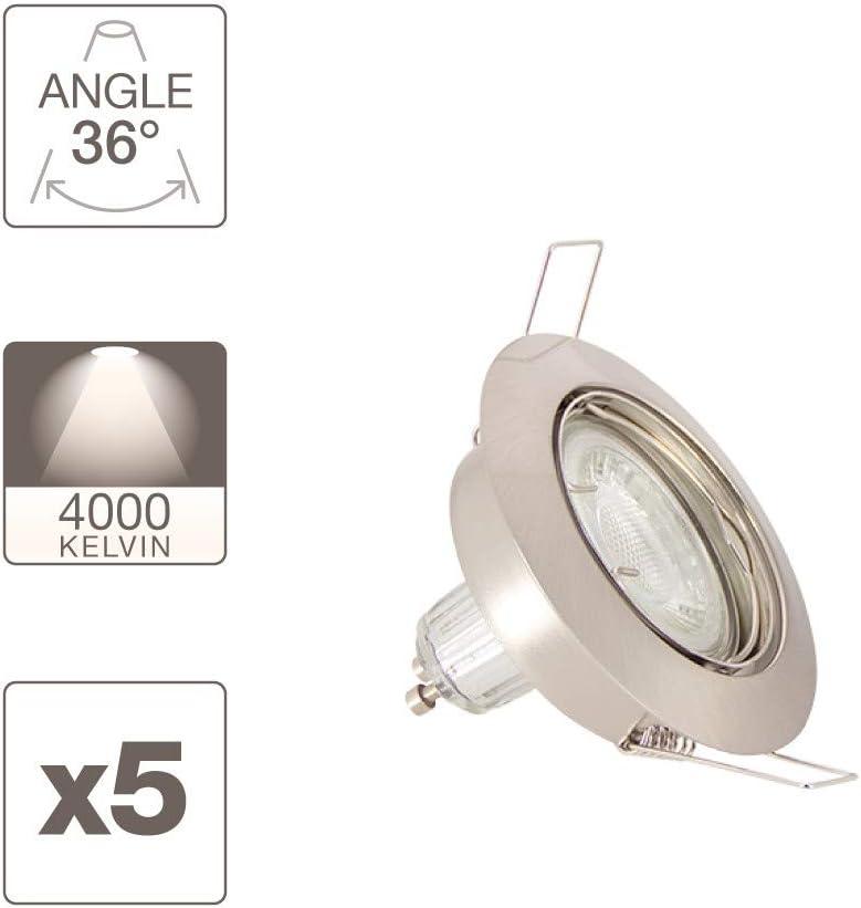 Xanlite PACK5SP50ASCW - Lote de 5 focos empotrables (bombillas LED GU10 incluidas), color blanco neutro: Amazon.es: Iluminación